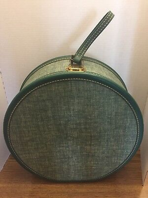 Vintage American Tourister Round Suitcase Hat Box Luggage Green Teal