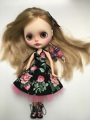 Ooak Custom Blythe Doll Jointed Body Full Outfit & Boots