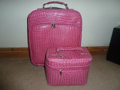 Pure Pink Stunning Suitcase with Matching Cosmetic/Vanity Bag