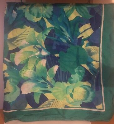 Vintage Christian Dior Cotton Scarf Teal Turquoise Green Blue
