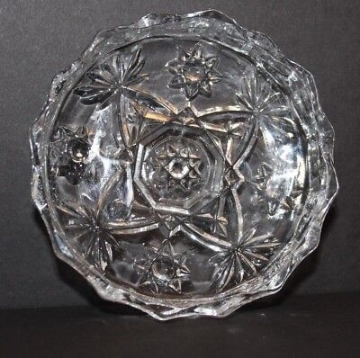 "Anchor Hocking Clear Glass Prescut Star of David 4"" Ashtray"
