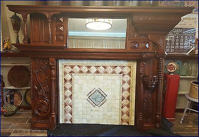 Antique English Walnut Fireplace Mantel Fire Place Mantle 1800's to 1900's