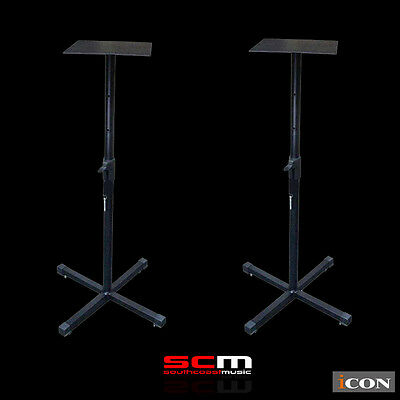 Brand New Icon Sb100 Pair Of Studio Monitor Speaker Stands Pro Quality & Sturdy