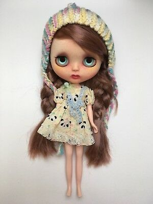 Ooak Custom Neo Blythe Doll With Tiny Teeth Includes Outfit Dress And Hat
