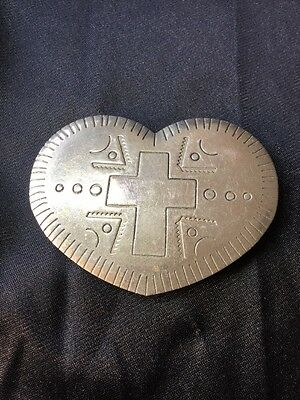 Vintage Retro Artisan Old Silver Heart Crucifix Love Hand Tooled Belt Buckle