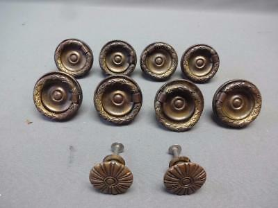Lot Vintage Ornate Brass Cabinet Door Drawer Ring Handles Pulls Hardware Knobs