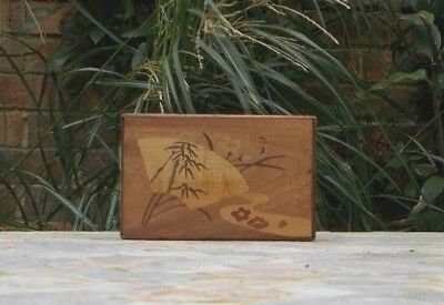 VINTAGE ~ ART DECO & Mt. FUJI MARQUETRY INLAY PATTERNED JAPANESE PUZZLE BOX