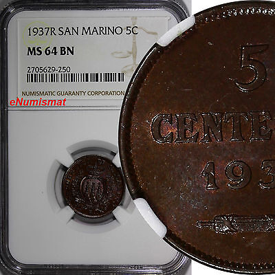 San Marino Bronze 1937-R 5 Centesimi NGC MS64 BN KEY DATE TOP GRADED KM# 12