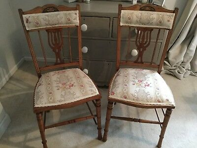 Beautiful pair of antique chairs newly covered with Kate Forman Christobel