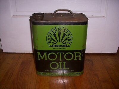 Vintage Eastern States Motor Oil 2 1/2 Gallon Can Advertising Gas & Oil
