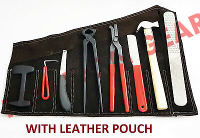 FARRIER TOOL KIT,8 Pieces Instruments Kit with Leather Roll Up Wallet
