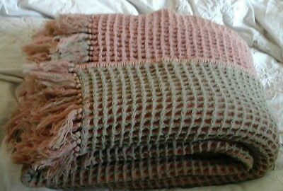 Vintage Welsh Wool Waffle Blanket 6 foot square green and pink