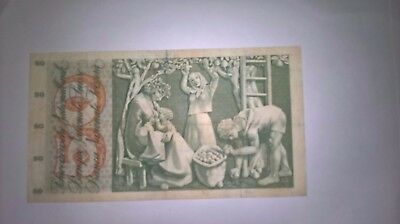1968 Swiss 50 Franc Banknote , good clean note