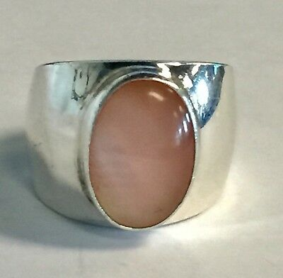Sterling Silver Taxco Mexico Pink MOP Wide Ring size 5.75