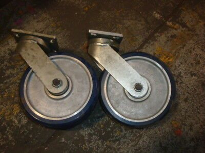Lot Of Two Super Heavy Duty Double Wheel Casters  Swivel Eaz
