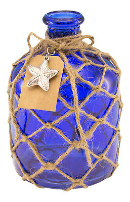 Cobalt Blue Round Glass Bottle with Jute Rope Netting and Starfish Accent
