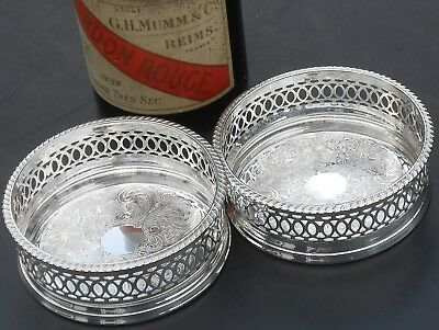Pair Vintage Chased Wine Bottle Coasters - Silver Plated - Sheffield