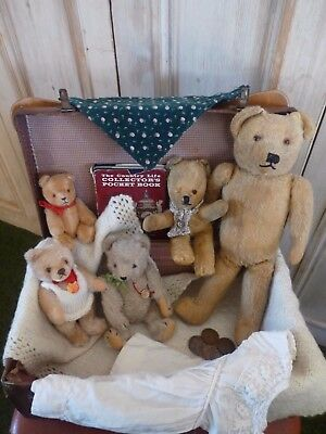 Antique mohair bears in child's suitcase - Chad valley, Steiff, Hermann, more!!