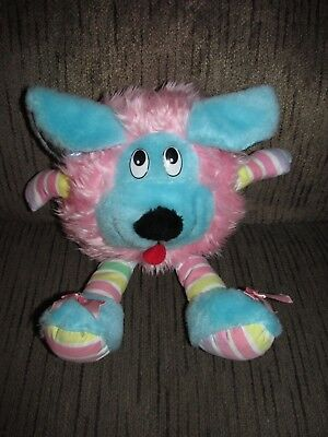 Vintage Rare Cuddle Wit Plush Pink Stuffed Animal Pastel Stripes Puppy Dog