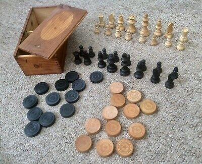 VINTAGE COMPLETE CHESS & DRAUGHT SET,STAUNTON PATTERN,KING 60mm,OLD BOX,Art Deco