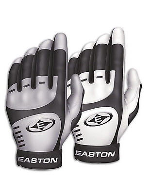 Easton Youth Home/Road Batting Gloves, White/Grey, Youth Large