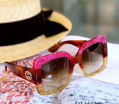 NEW Authentic Gucci GG0083S 002 Pink/Yellow Gradient Lenses 55MM Sunglasses 0083