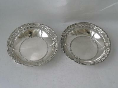 Pretty Pair of Pierced 800 Standard Solid Silver Dishes/ Dia 8.1 cm / 42 g