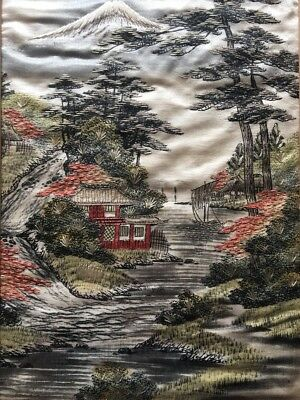 Vintage Japanese Embroidery Silk Panel Mount Fuji Pagoda