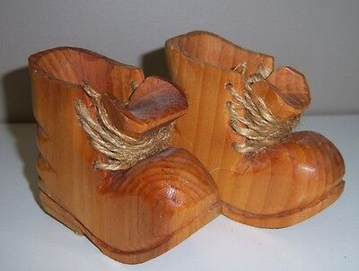 Wood Hand Carved Baby Shoes - Decorative HAND CARVED IN CANADA