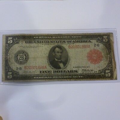 1914 $5  RED SEAL FEDERAL RESERVE LARGE SIZE US BOSTON NOTE BURKE / McADOO