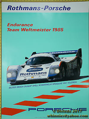 1985 Endurance Team Weltmeister Porsche Genuine Factory Poster Original