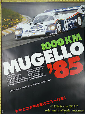 1985 Mugello 1000 km 956 962  Porsche Genuine Factory Poster Original