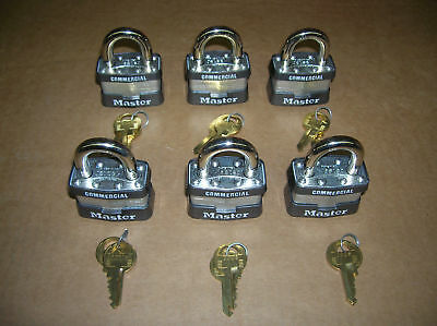 Lot of 6 Master Lock  1KA KEYED ALIKE Identical Same Padlocks F/S