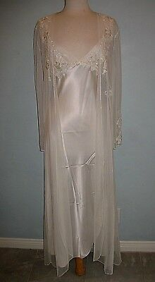 Jonquil Diane Samandi GOWN/ROBE PEIGNOIR SATIN-NETTING-APPLIQUE MADE IN USA M/L