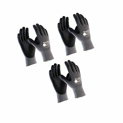 Maxiflex 34-874 Ultimate Nitrile Grip Work Gloves Large 3 Pair L
