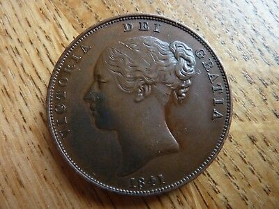 1841 Young Head Victorian Higher Grade Penny