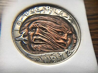 """Original Engraved Hobo coin By Stephan Miles """"Battle in the patch"""""""