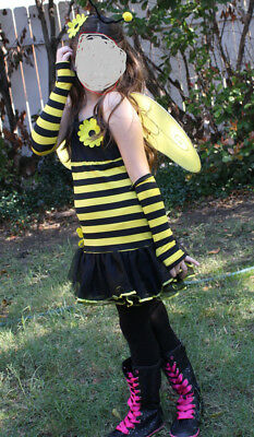 NEW!  Girls BEE Costume  with Dress, Wings, and Antenna, tights, sleeves! L12-14