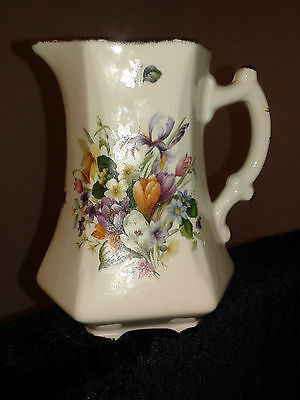 Finest Quality Earthenware, Staffordshire floral (Crocus and daffodils) Jug vase