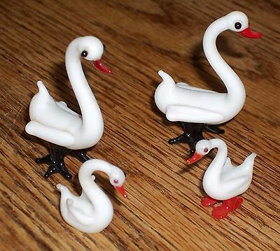 Vintage Glass Animals GEESE / SWANS 4 piece set