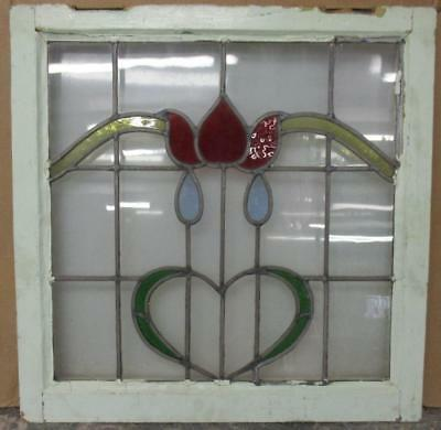 "MID SIZED OLD ENGLISH LEADED STAINED GLASS WINDOW Gorgeous Floral Heart 23"" x 23"