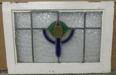 "MID SIZED OLD ENGLISH LEADED STAINED GLASS WINDOW Abstract Candle 23.75"" x 16.25"