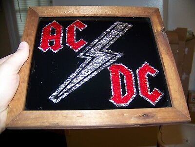 Vintage 80s AC/DC Music Band 9.5X10.5 Framed Carnival Mirror Foil Glass Wall Art