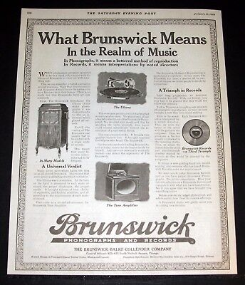 1920 Old Magazine Print Ad, Brunswick Phonographs And Records, Realm Of Music!