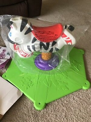 Fisher Price Go Baby Go Bounce Spin Zebra Riding Rider Activity Toy 12-36M
