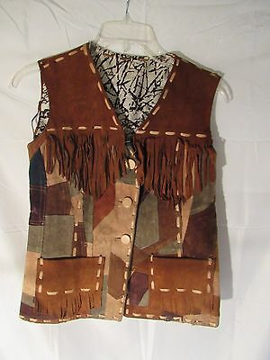Western Cowboy Handmade Vest Leather Medium M Tassels Brown Patchwork