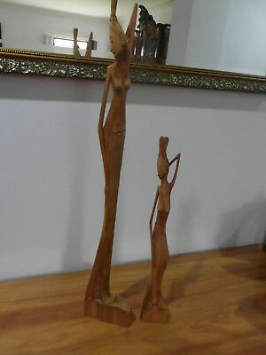 African Lady's Abstract Wooden Statue Figurines Hand Carved Sculptures.