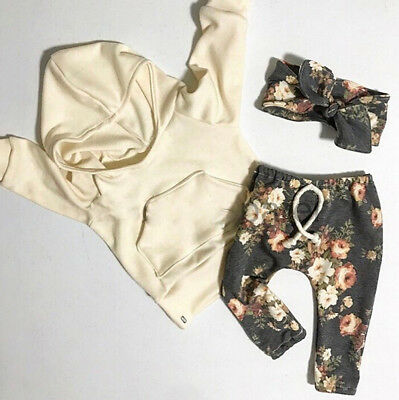 US Stock Newborn Baby Kids Girls Clothes Floral Hooded Tops+Long Pants Outfits