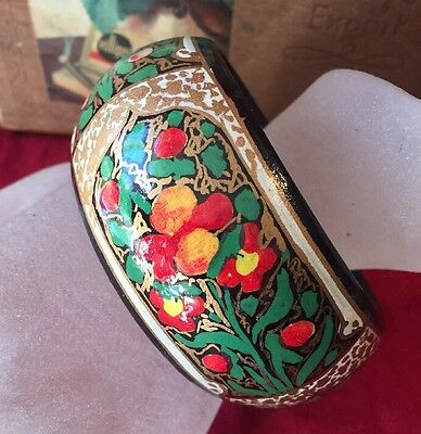 Gypsy Hippy Boho Festival Tribal Multi Colour Wide Hand Painted Wooden Bangle