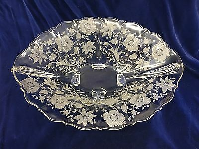 Cambridge Wildflower Etch 2 handled 4 footed Oval Bowl